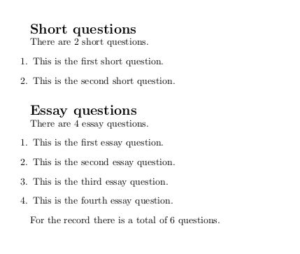 The Essay Questions by Counters How To Count The Number Of Questions Separately For Different Parts In Class