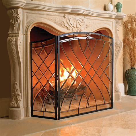 Beveled Glass Fireplace Screen glass fireplace screen traditional fireplace