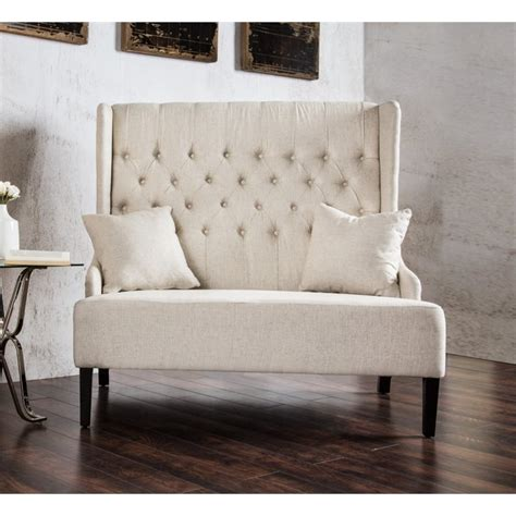 wingback settee furniture of america mahle tufted wingback settee in ivory