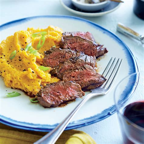 chipotle hanger steak with sour cream mashed sweet
