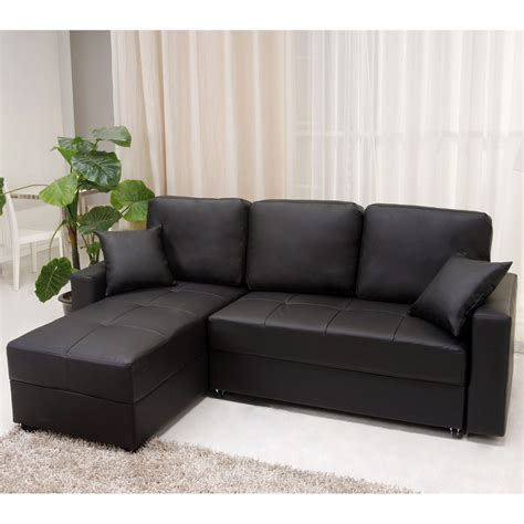 sofa l bed small black vinyl modular with chaise of captivating