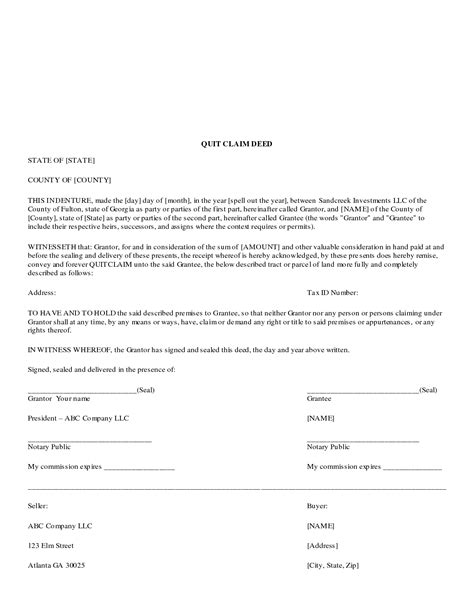 Deed Template Free best photos of template of quit claim deed quit claim deed form free quit claim deed template