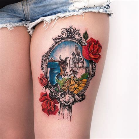 beauty and the beast tattoo designs and the beast mirror thigh best