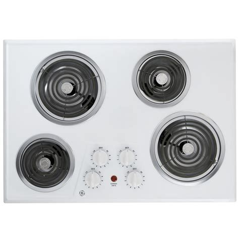 white cooktops ge 30 in coil electric cooktop in white with 4 elements