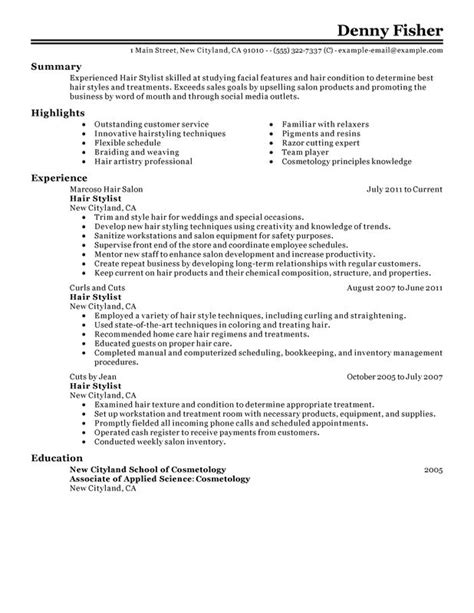 Sle Hair Stylist Resume by Unforgettable Hair Stylist Resume Exles To Stand Out Myperfectresume