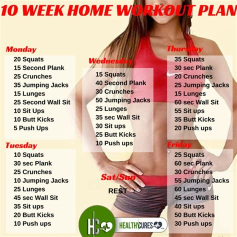 daily workout plan for women at home 10 week no gym home workout plan