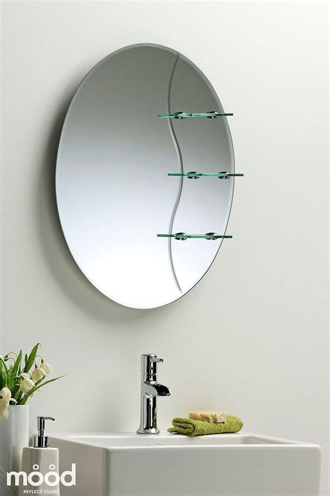 Etched Bathroom Mirrors Etched Bathroom Mirror Oval With Shelf Wall Mounted Plain Ebay