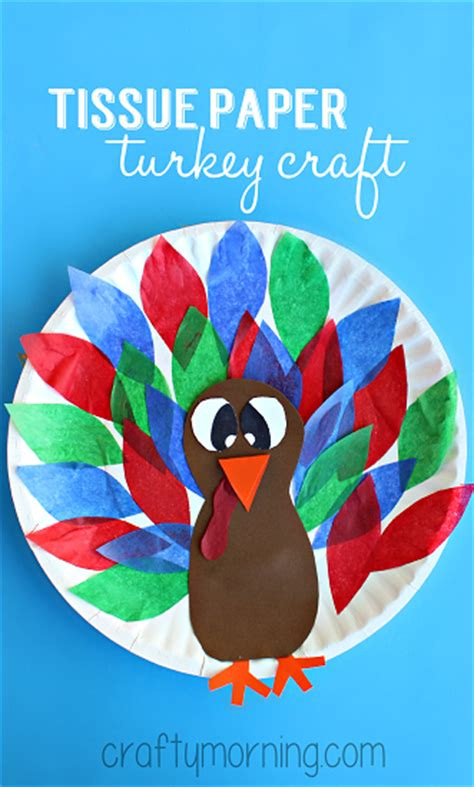 Tissue Paper Turkey Craft - creative paper plate crafts for to make crafty morning