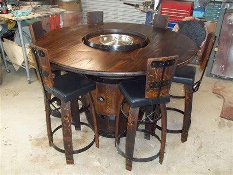 wine barrel bistro table with a cut into the