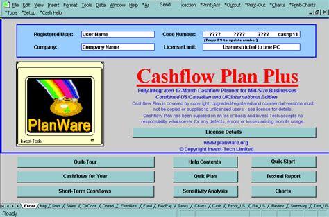 screen shot cashflow plan cash flow plan cashflow