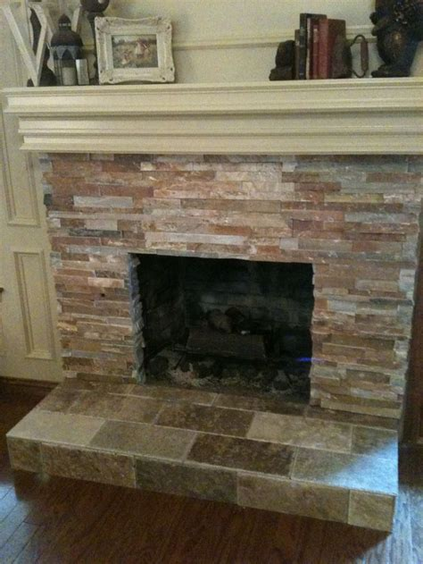 tile over brick fireplace remodel den remodel