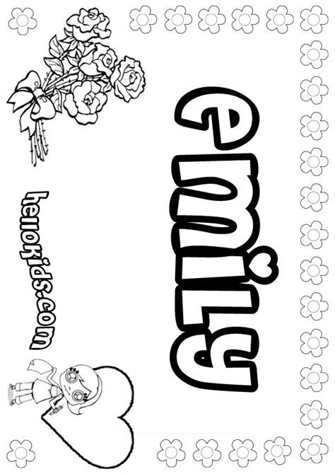 Coloring Pages With The Name Emily | emily coloring pages hellokids com