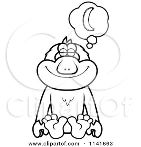 japanese macaque coloring page clipart macaque monkey with a wooden sign royalty free