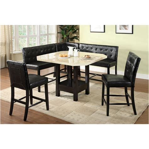 corner dining room furniture 6 pc bahamas contemporary style faux marble table top counter height with black wood finish