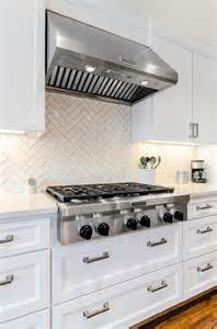 White Kitchen With Backsplash white herringbone kitchen backsplash tiles transitional kitchen