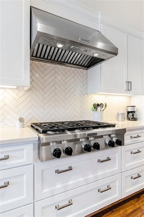 White Herringbone Kitchen Backsplash Tiles Transitional Herringbone Kitchen Backsplash