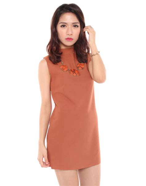 L 835 Simple Dress Dress Simple Dress Brown Brown Dress Simple Chic