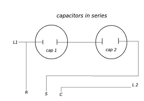 hvac capacitors in series two of the same size capacitors in series equals 1 2 of the rating of one so two 10uf caps 5uf