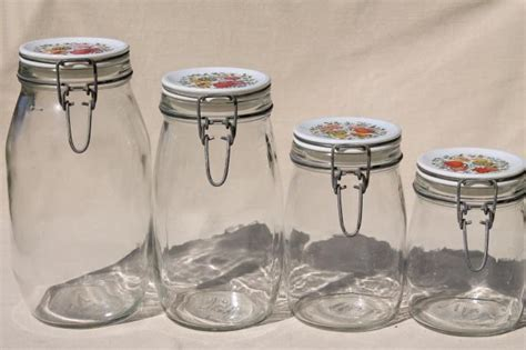 vintage glass canisters kitchen spice of kitchen seasonings vintage glass jars canisters set of 4