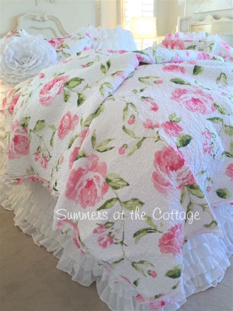 shabby chic quilt sets shabby pink peony roses cottage chic ruffle quilt