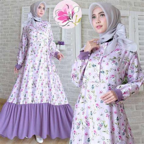 Jilbab Segiempat Satin Velvet Motif Bunga Nazila gamis maxmara kancing depan venesia ungu model baju gamis terbaru