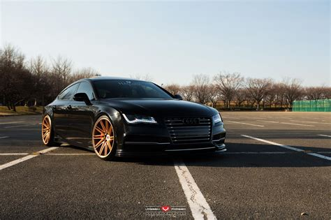 Audi Rs7 Black by Black Audi Rs7 With Gold Vossen Wheels Gtspirit