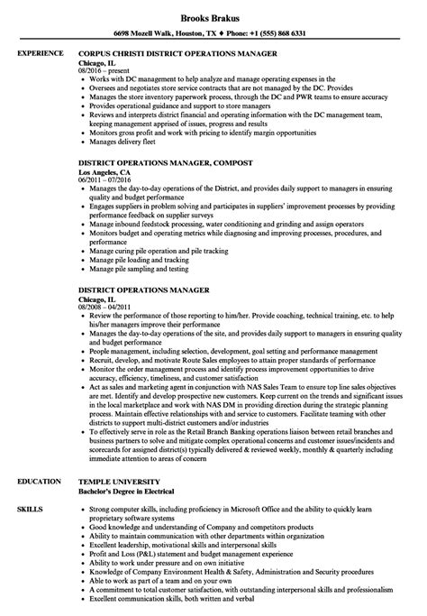 District Manager Resume by District Operations Manager Resume Sles Velvet