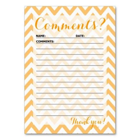 Comment Suggestion Card Templates by Chevron Customer Comment Card Card Templates And