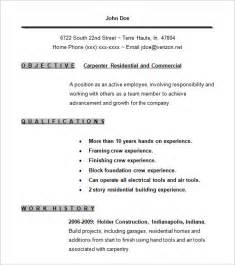 Stage Carpenter Cover Letter by Carpenter Resume Template 9 Free Sles Exles Format Free Premium Templates
