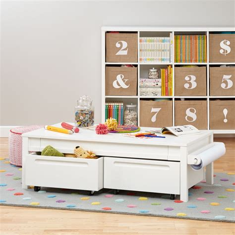 white play table with storage play tables activity tables the land of nod