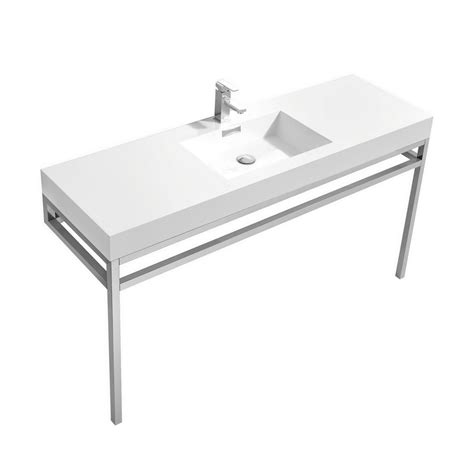 white stainless steel sink haus 60 quot single sink stainless steel console w white