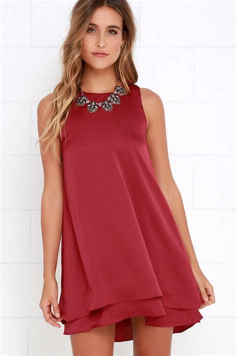 cute swing dresses cute wine red dress swing dress sleeveless dress 54 00