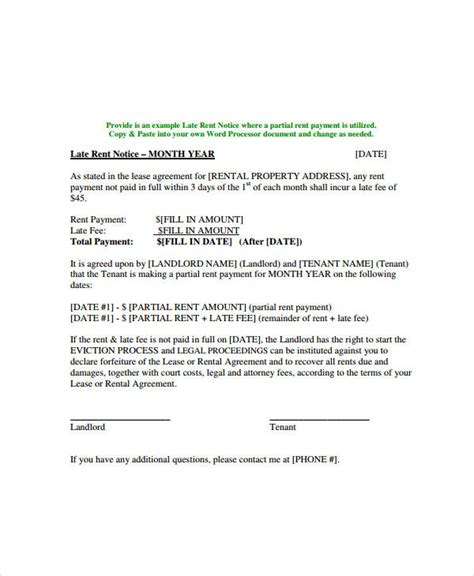 Letter From Landlord To Tenant For Late Rent 7 late rent notice exles sles