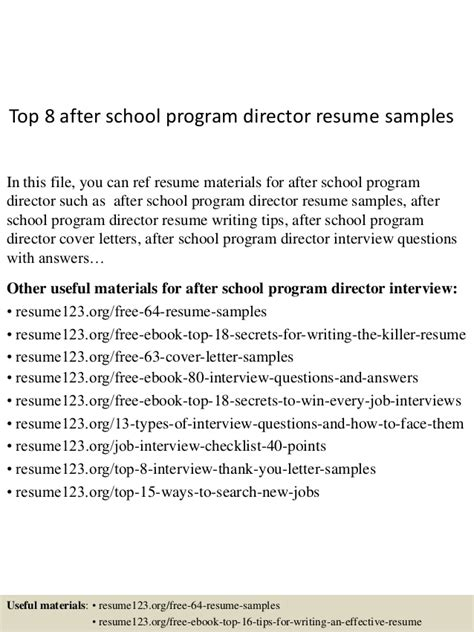 Academic Program Director Sle Resume by Top 8 After School Program Director Resume Sles