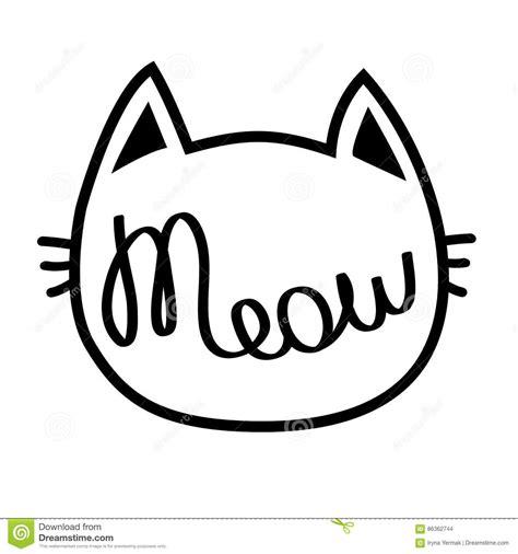 Black Cat Contour Head Meow Lettering Text Cute Cartoon