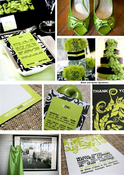 lime green and black and silver wedding theme cocoa berry design black and green goodness