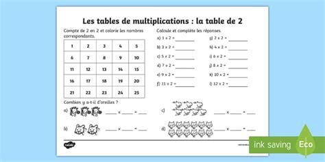 feuille de table de multiplication fiche de calcul la table de 2 les multiplications feuille
