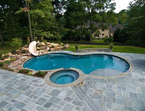 square pools pool sun shelf raised spa landscape slide with boulder