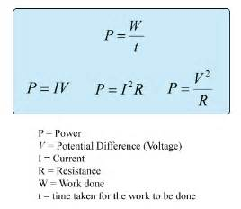 formulae of electrical power