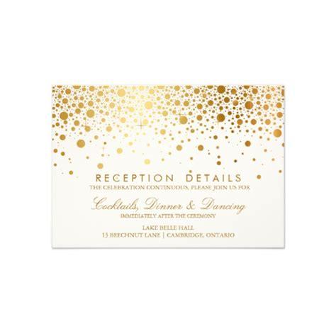 Wedding Invitation Reception Card by Faux Foil Confetti Gold And White Reception Card