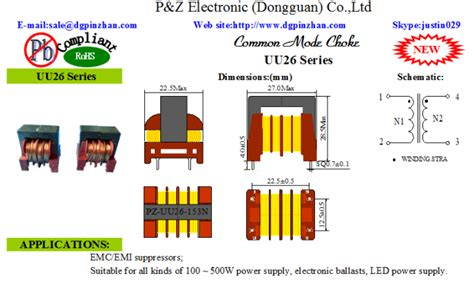 common mode choke in power supply new pz uu26 series 3 3 30mh common mode choke inductor power supply