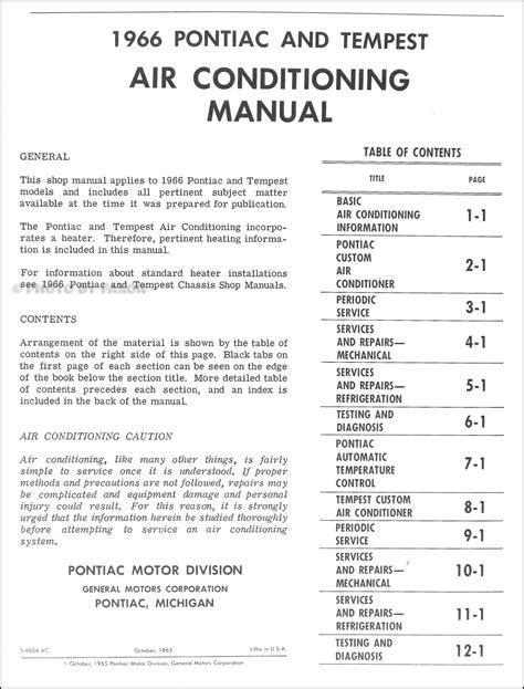service manual automotive air conditioning repair 1987 pontiac 1966 pontiac air conditioning repair shop manual original