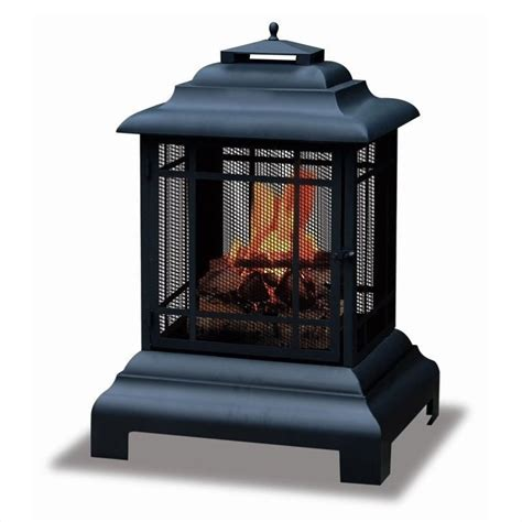 uniflame black two sided outdr outdoor fireplace