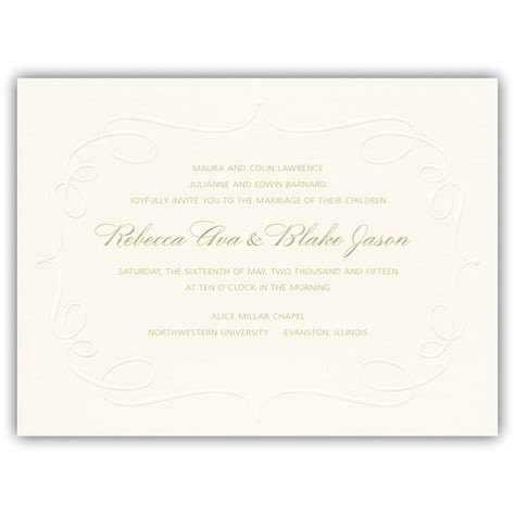 Embossed Wedding Invitations by Embossed Cartouche Wedding Invitations Paperstyle