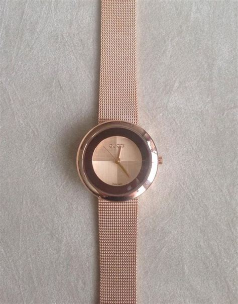 Gucci G0119 Browb Rosegold vintage gucci gold mesh swiss stainless steel bracelet electroplated