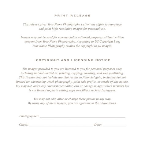 photographer copyright release form template photographer print release form by