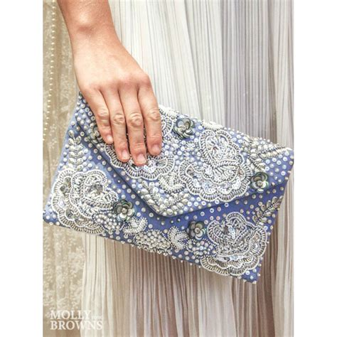 Embellished Clutch periwinkle silver embellished clutch bag by molly browns