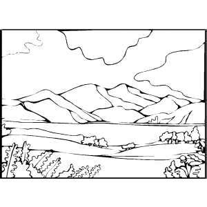 coloring pages landscapes mountains mountain and lake coloring page