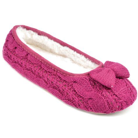 knitted ballerina slippers slumberz s knitted bow ballet slippers ebay