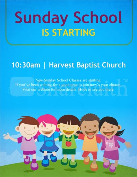 Sunday School Is Starting Flyer Page 1 Sunday School Flyer Template